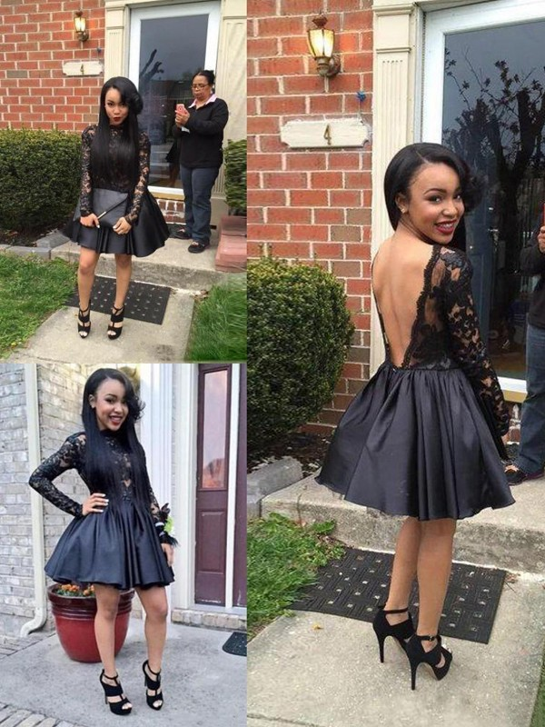 Short Black Long Sleeves Scoop Homecoming Dresses with Lace
