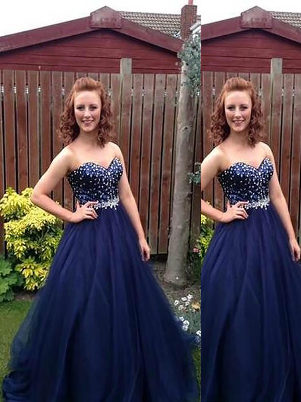 Ball Gown Sweetheart Floor-Length Dark Navy Prom Dresses