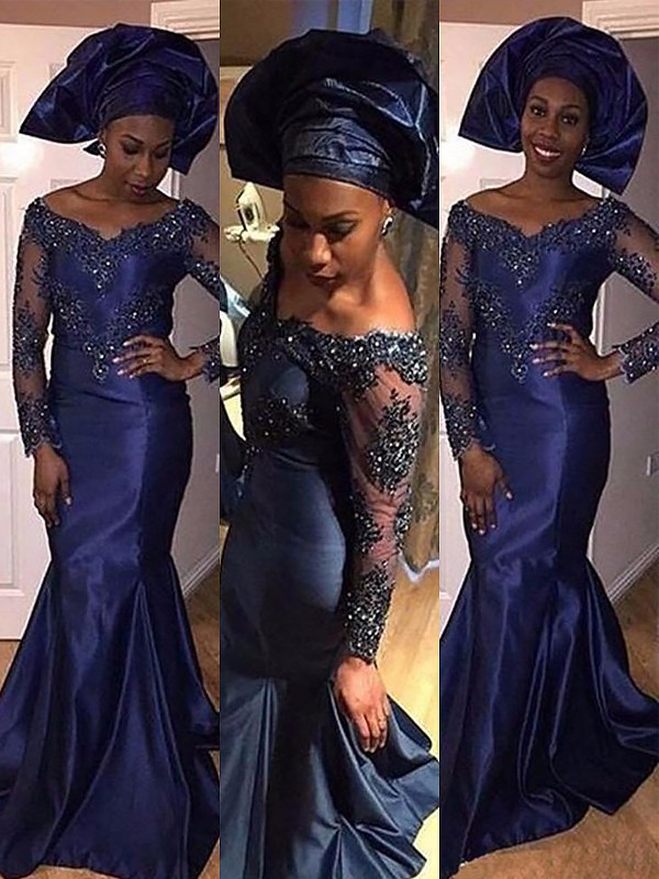 Satin Long Sleeves V-neck Brush Train Dark Navy Prom Dresses