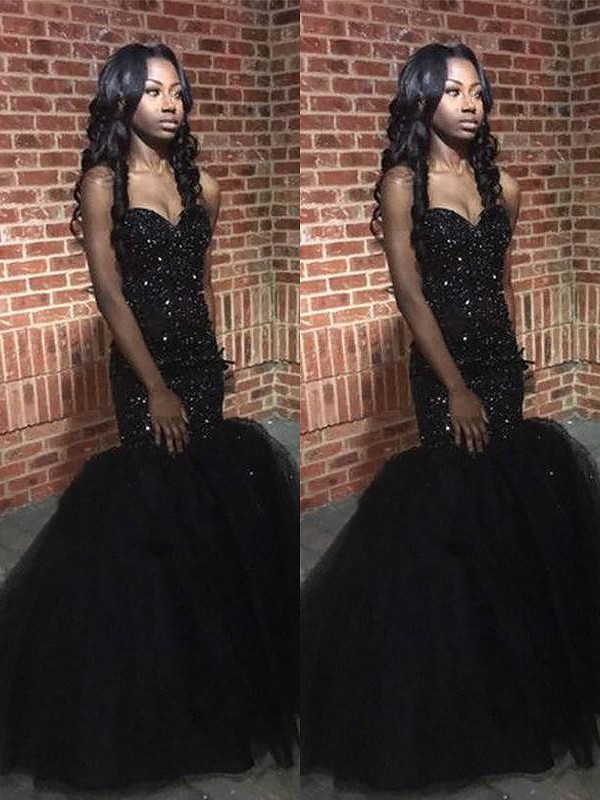 Sequins Sweetheart Floor-Length Black Prom Dresses