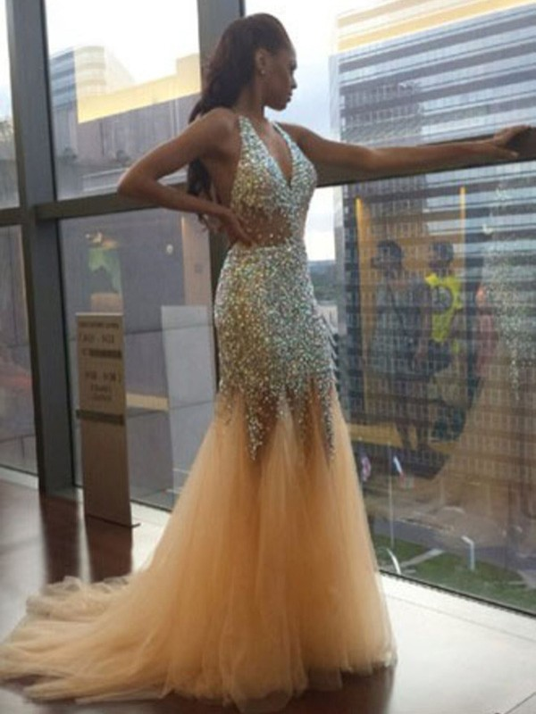 Mermaid Tulle Halter Court Train Prom Dresses with Sequin