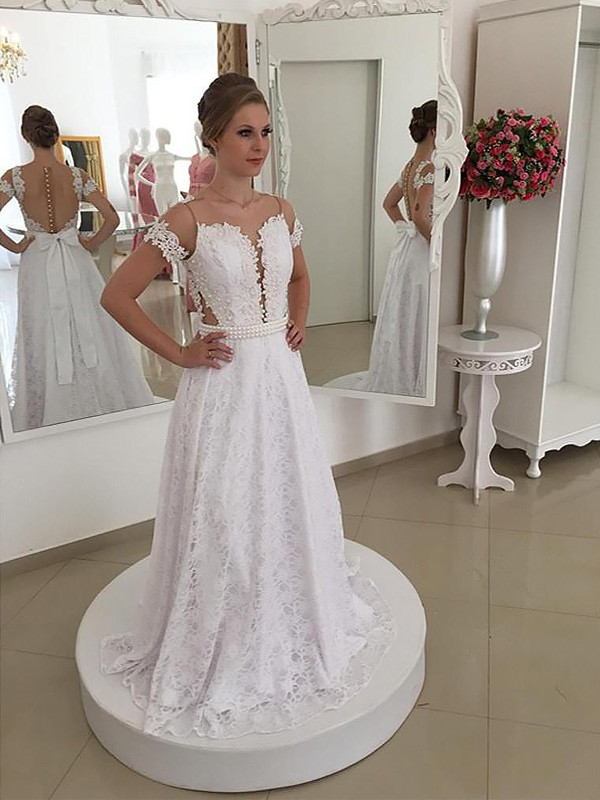 A-Line Scoop Brush Train Ivory Wedding Dresses