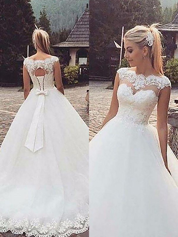 Tulle Bateau Court Train Ivory Wedding Dresses