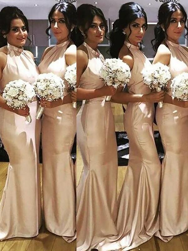 Mermaid Halter Floor-Length Champagne Bridesmaid Dresses
