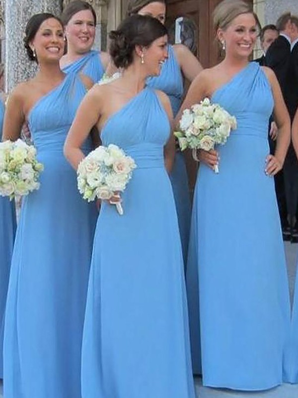 Sheath One-Shoulder Floor-Length Blue Bridesmaid Dresses