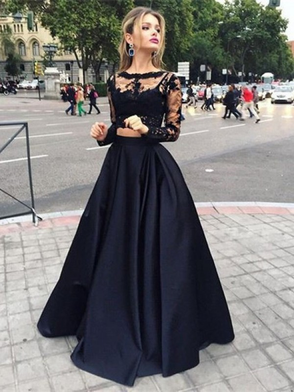 Long Sleeves Ball Gown Bateau Floor-Length Black Prom Dresses