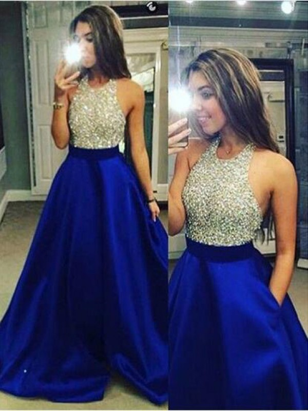 Ball Gown Jewel Floor-Length Royal Blue Prom Dresses
