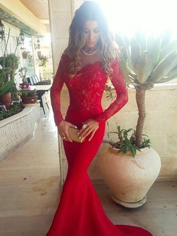 Mermaid Elastic Woven Satin Long Sleeves Off-the-Shoulder Brush Train Prom Dresses with Lace