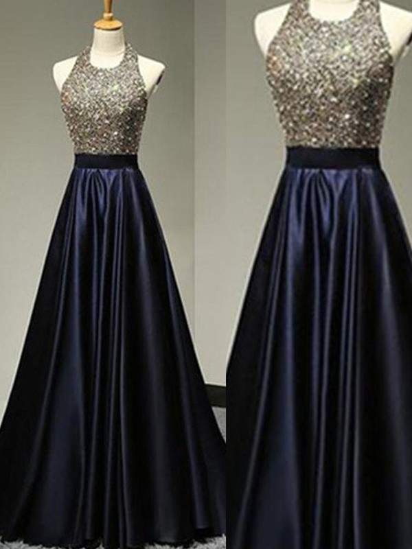 A-Line Halter Floor-Length Dark Navy Prom Dresses