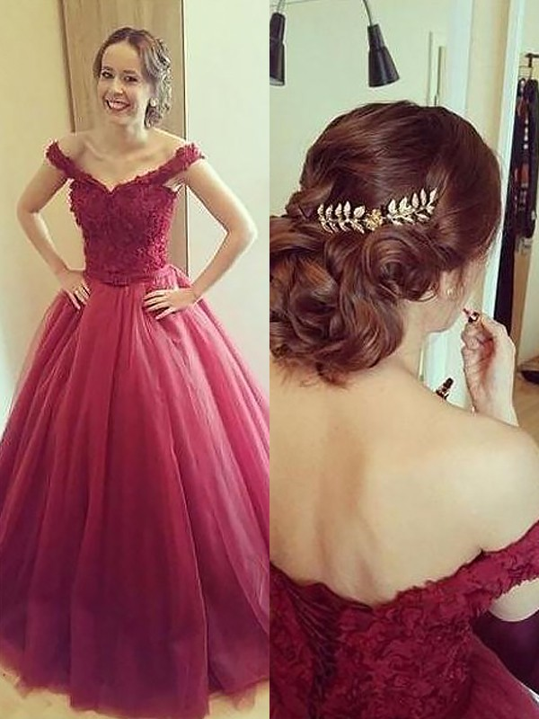 Ball Gown Off-the-Shoulder Floor-Length Burgundy Prom Dresses with Applique