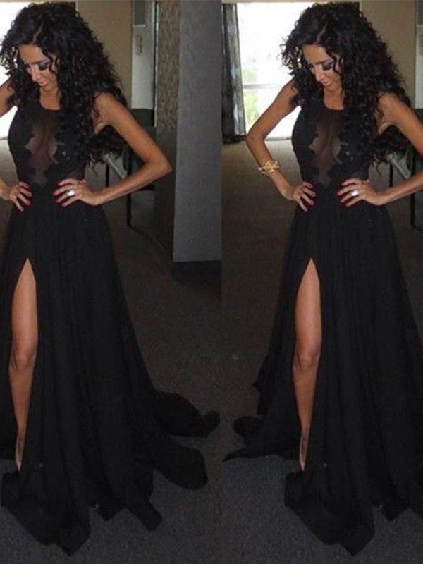 Satin Chiffon A-Line Brush Train Scoop Black Prom Dresses