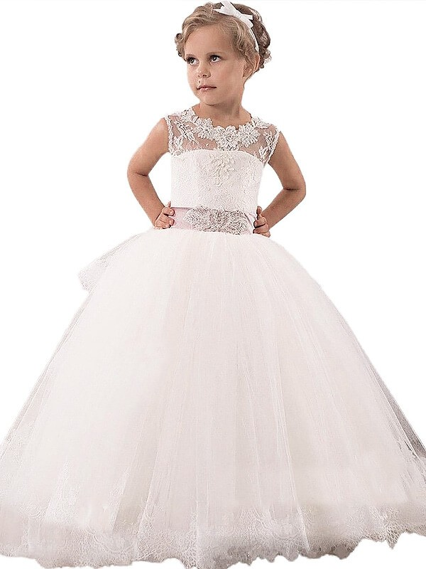 Ball Gown Scoop Floor-Length White Flower Girl Dresses with Lace