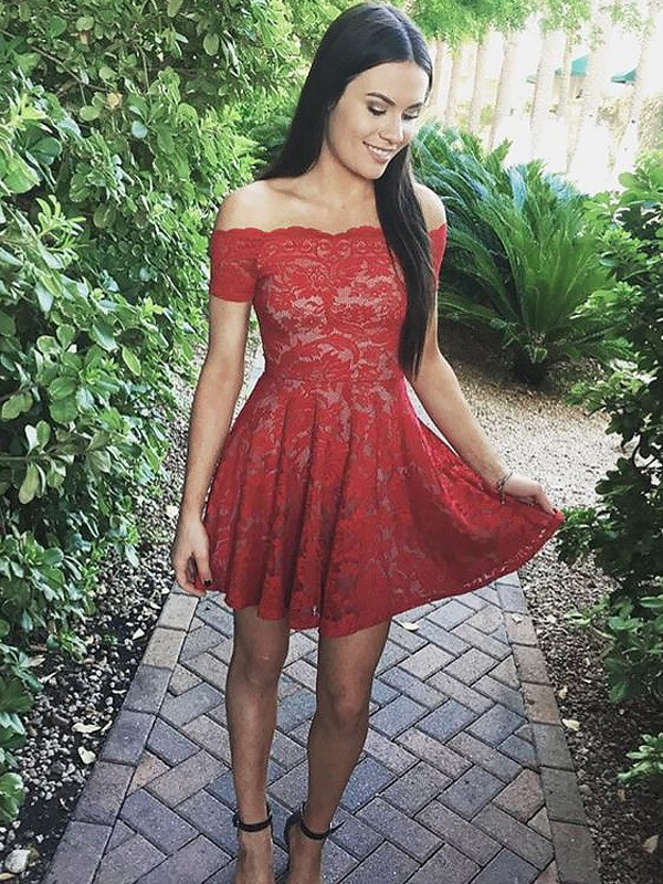 A-Line Lace Short Sleeves Off-the-Shoulder Short Red Prom Dresses