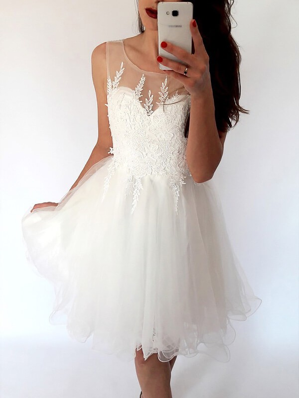 Tulle Scoop Short/Mini White Prom Dresses