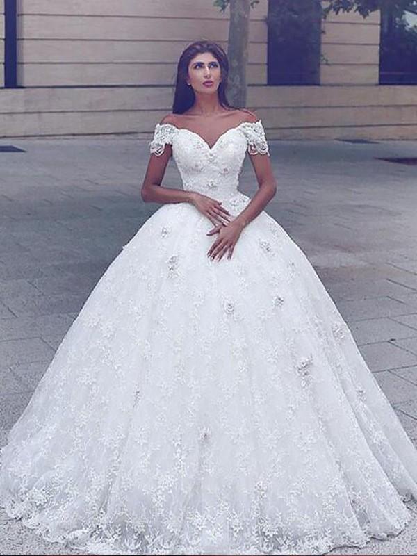 Ivory Ball Gown Straps Floor-Length Wedding Dresses