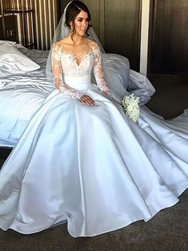 Ball Gown Off-the-Shoulder Court Train Ivory Wedding Dresses