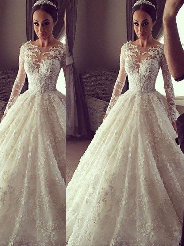 Ball Gown Scoop Court Train Ivory Wedding Dresses