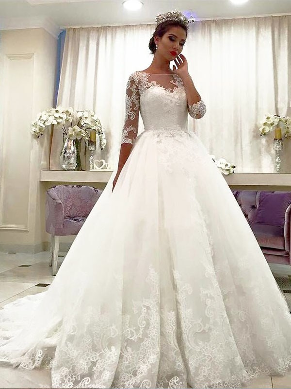 3/4 Sleeves Ball Gown Bateau Court Train Ivory Wedding Dresses