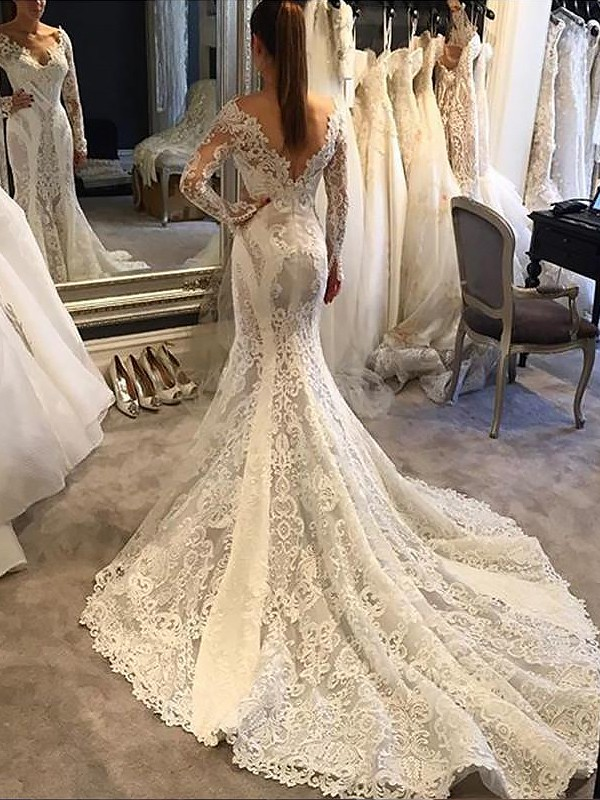 Mermaid Lace Long Sleeves V-neck Court Train Ivory Wedding Dresses