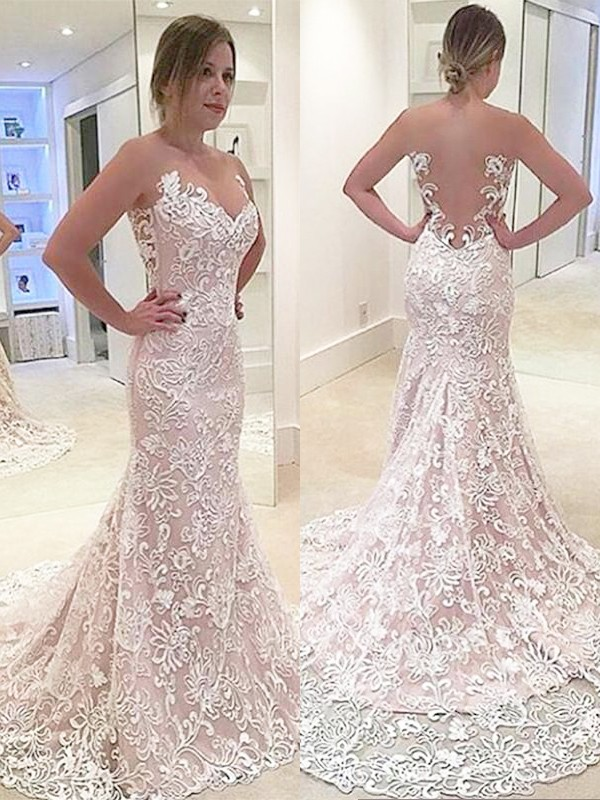 Lace Mermaid Brush Train Sweetheart Ivory Wedding Dresses