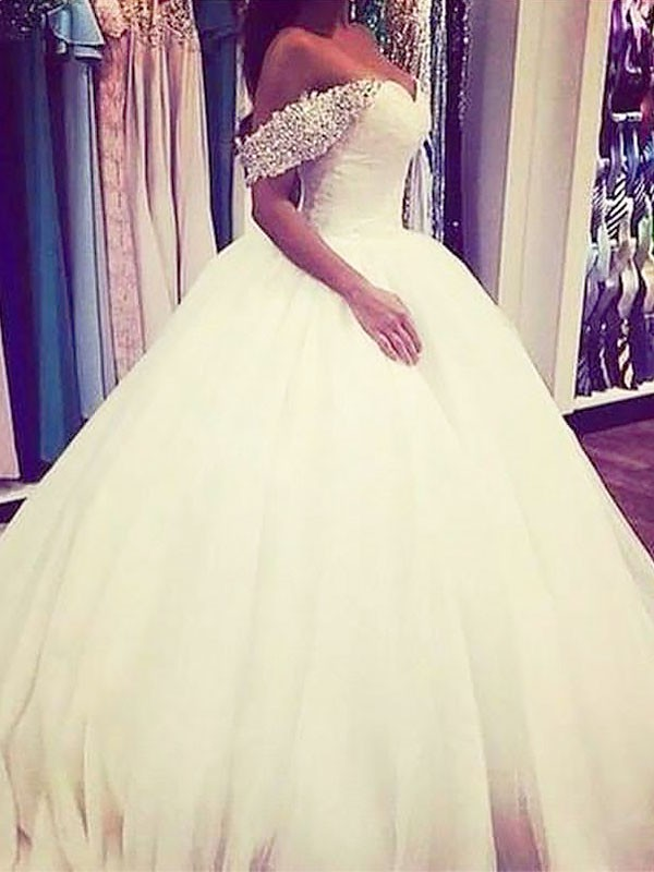 IvoryOff-the-Shoulder Brush Train Wedding Dresses with Beading