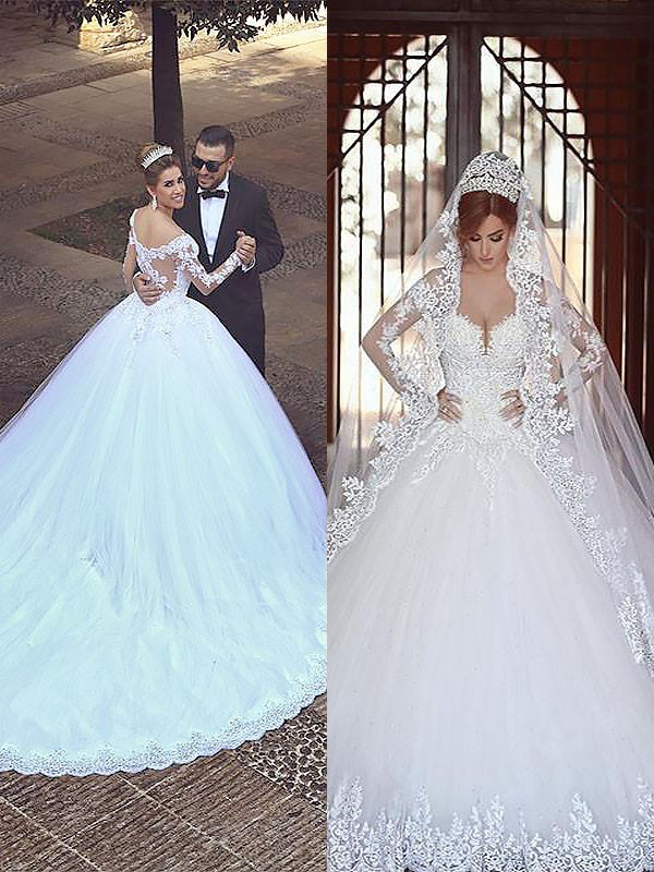 Court Train Ivory Long Sleeves Off-the-Shoulder Wedding Dresses