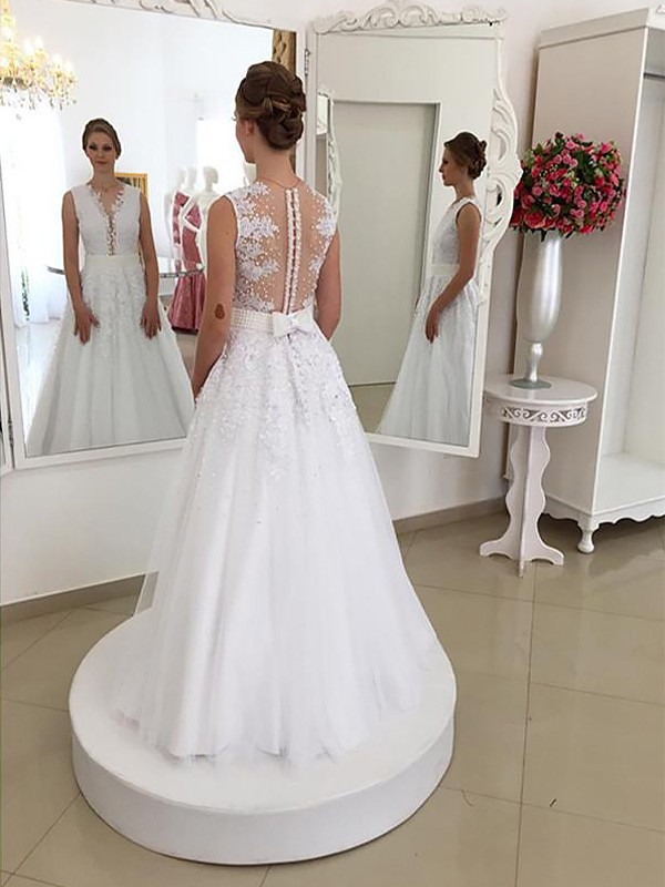 Ivory Mermaid Scoop Floor-Length Wedding Dresses