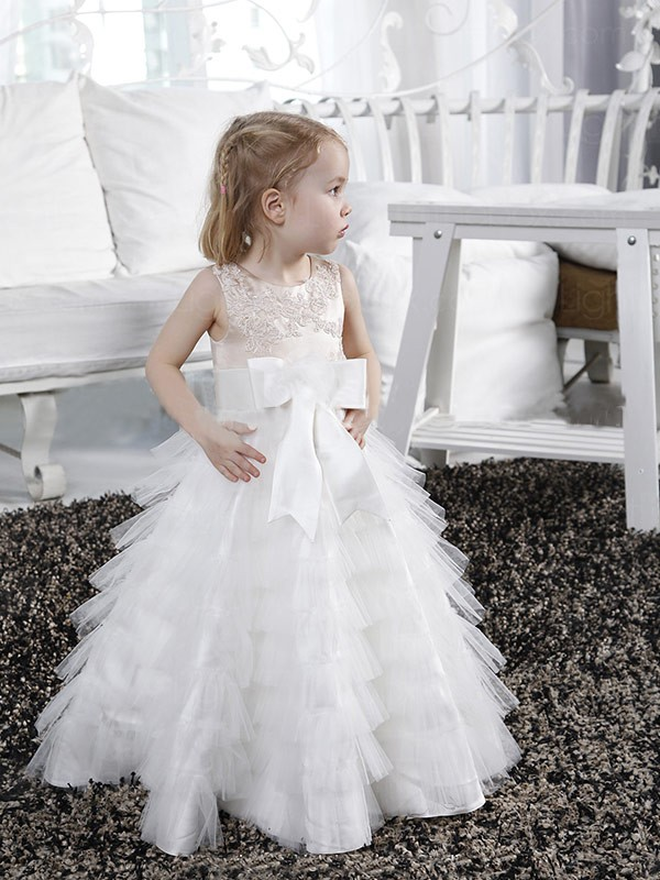 White A-Line Scoop Long Flower Girl Dresses with Bowknot