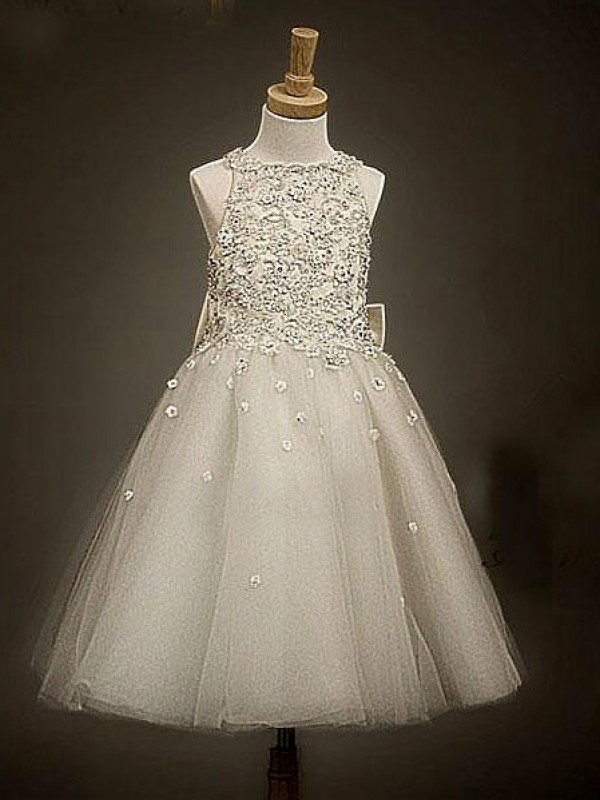 A-Line Organza Scoop Tea-Length Champagne Flower Girl Dresses