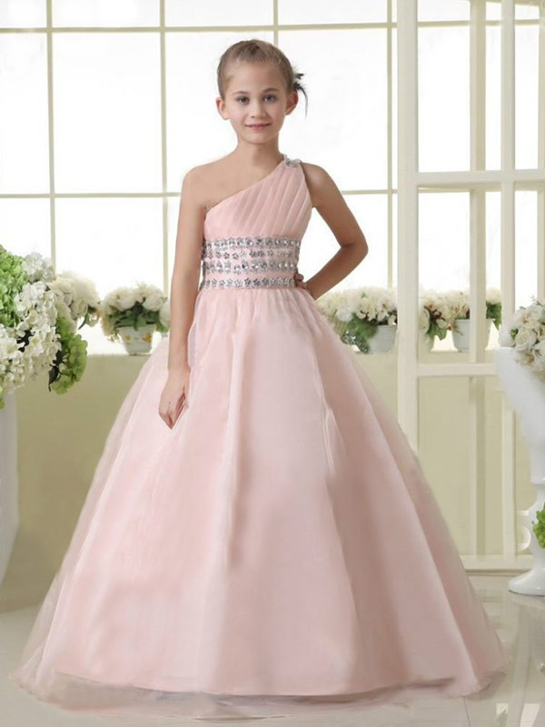 A-Line One-Shoulder Long Pearl Pink Flower Girl Dresses with Beading