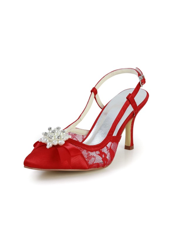 Pretty Satin Stiletto Heel Sandals Closed Toe With Pearl Red Wedding Shoes