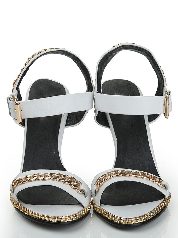 Sheepskin Wedge Heel Peep Toe With Chain Sandals Shoes