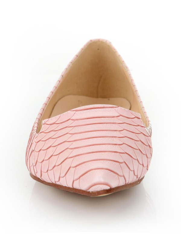 Sheepskin Closed Toe Flat Heel With Fish-scale Pattern Casual Flat Shoes