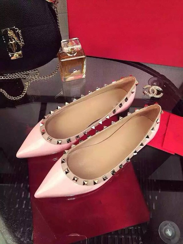 Pink Flat Heel Sheepskin Closed Toe With Rivet Party Casual Flat Shoes