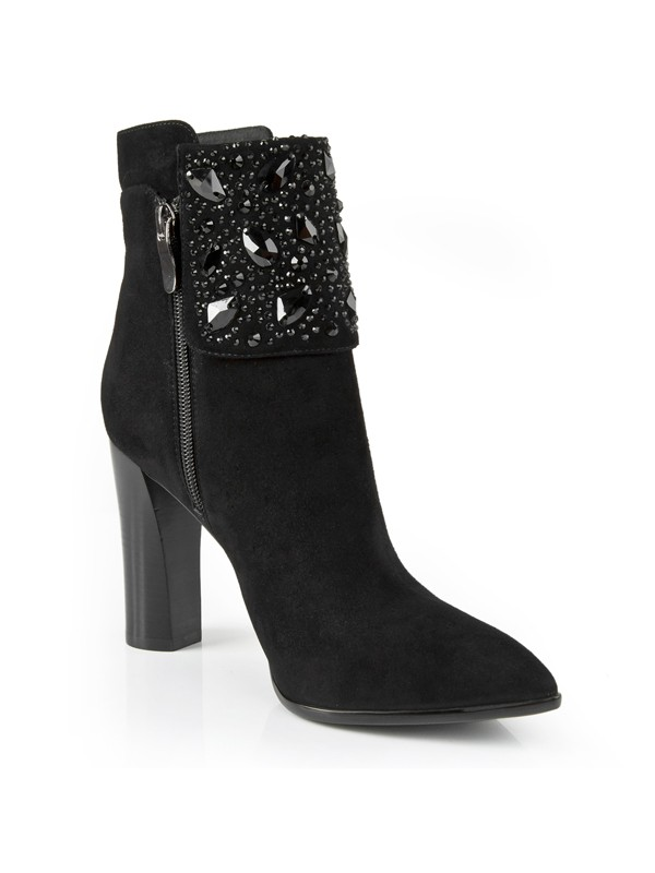 Chunky Heel Suede Closed Toe With Rhinestone Booties/Ankle Black Boots