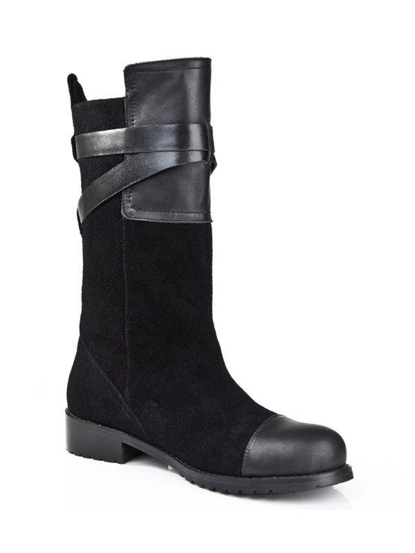 Suede Kitten Heel Closed Toe With Buckle Mid-Calf Black Boots