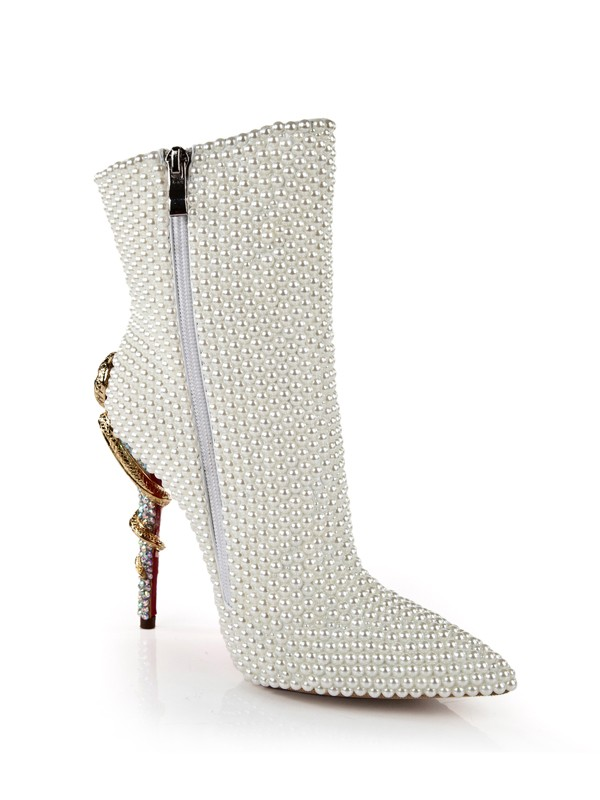 Patent Leather Stiletto Heel With Pearl Mid-Calf White Boots
