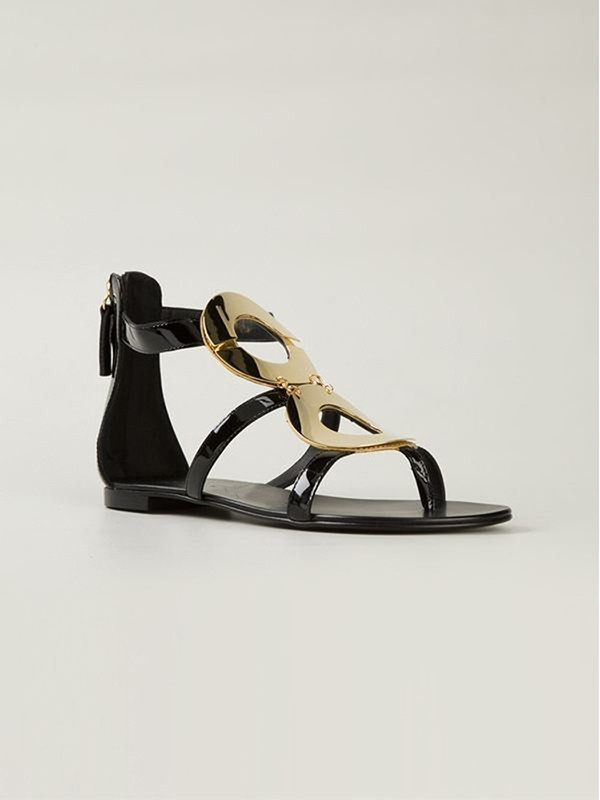 Patent Leather Flat Heel Peep Toe With Zipper Sandals Shoes