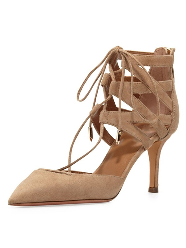 Stiletto Heel Suede Closed Toe With Lace-up Sandals Shoes