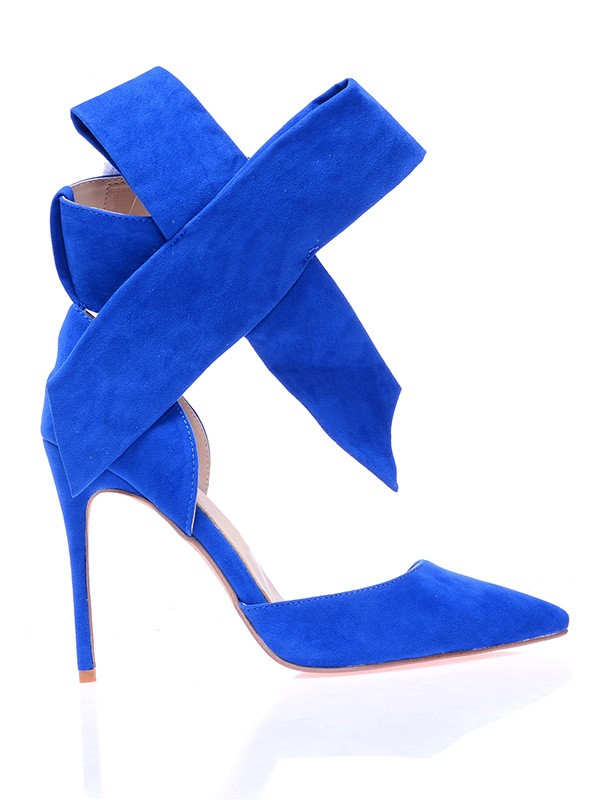 Suede Closed Toe Stiletto Heel With Knot High Heels