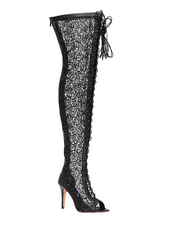 Lace Platform Peep Toe Stiletto Heel With Lace-up Over The Knee Black Boots