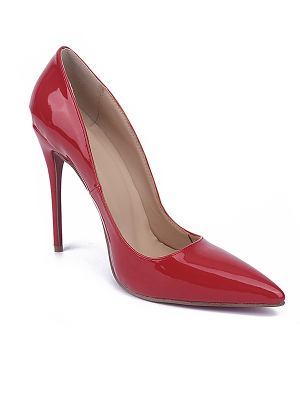 Red Closed Toe Stiletto Heel Patent Leather High Heels
