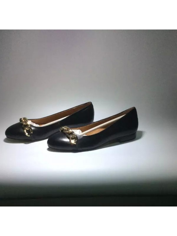Flat Heel Sheepskin Closed Toe With Chain Casual Flat Shoes