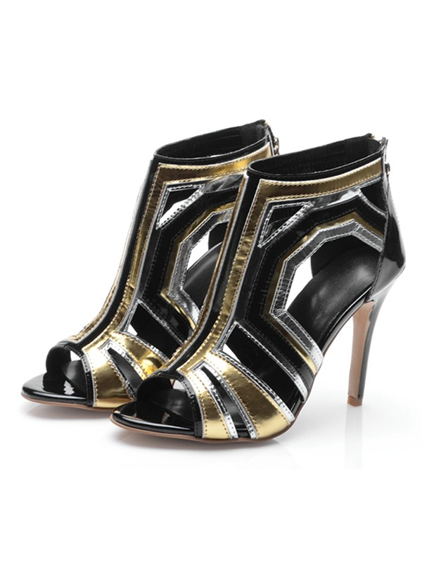 Suede Patent Leather Peep Toe Stiletto Heel With Zipper Ankle Black Boots