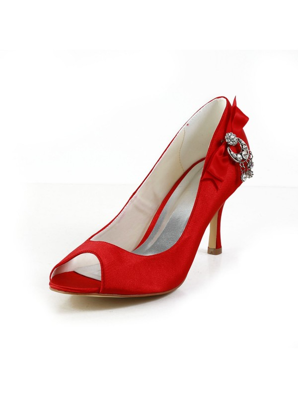Satin Peep Toe Spool Heel With Bowknot Red Wedding Shoes