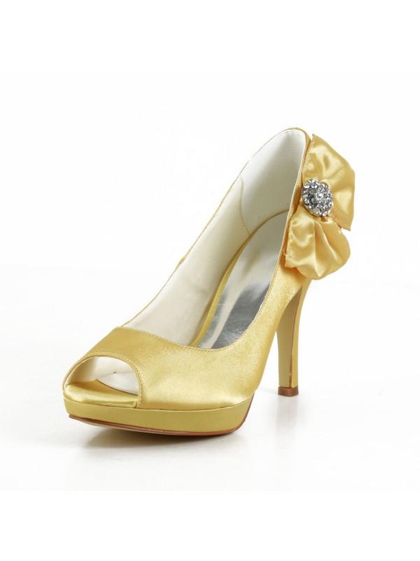 Satin Stiletto Heel Peep Toe Platform Gold Wedding Shoes With Bowknot