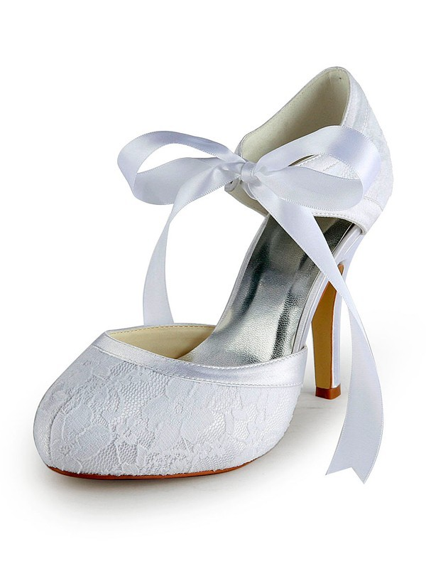 Satin Stiletto Heel Pumps with Lace White Wedding Shoes