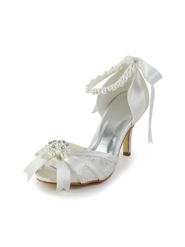 Satin Stiletto Heel Sandals Dance Shoes Pearl