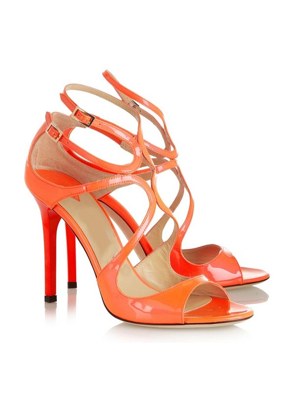 Peep Toe Patent Leather Stiletto Heel With Buckle Sandals Shoes