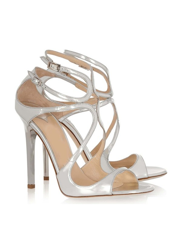 Patent Leather Peep Toe Stiletto Heel With Buckle Sandals Shoes